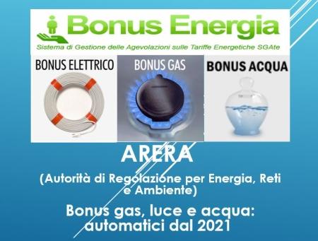 Bonus gas, luce e acqua: automatici dal 2021